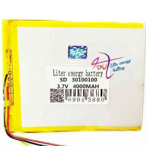 3 Line 30100100 3.7v Lithium Tablet Polymer Battery