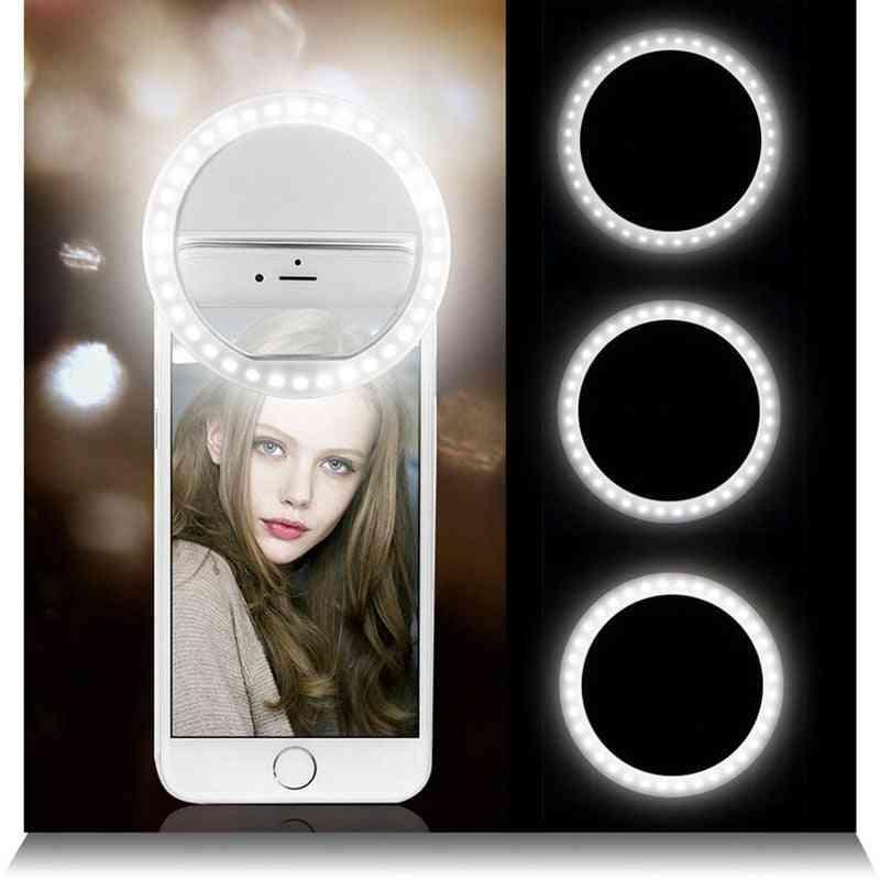 Selfie Led Ring, Flash Lumiere, Portable Led Mobile Phone, Light Clip Lamp