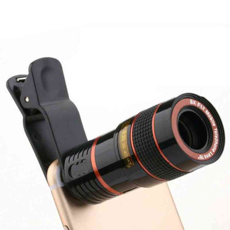 Mobile Phone, Camera Lens, External Telescope With Clip