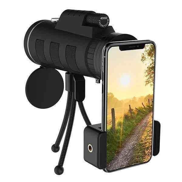 Monocular Telescope, Scope Camera With Compass Phone Clip Tripod (black)