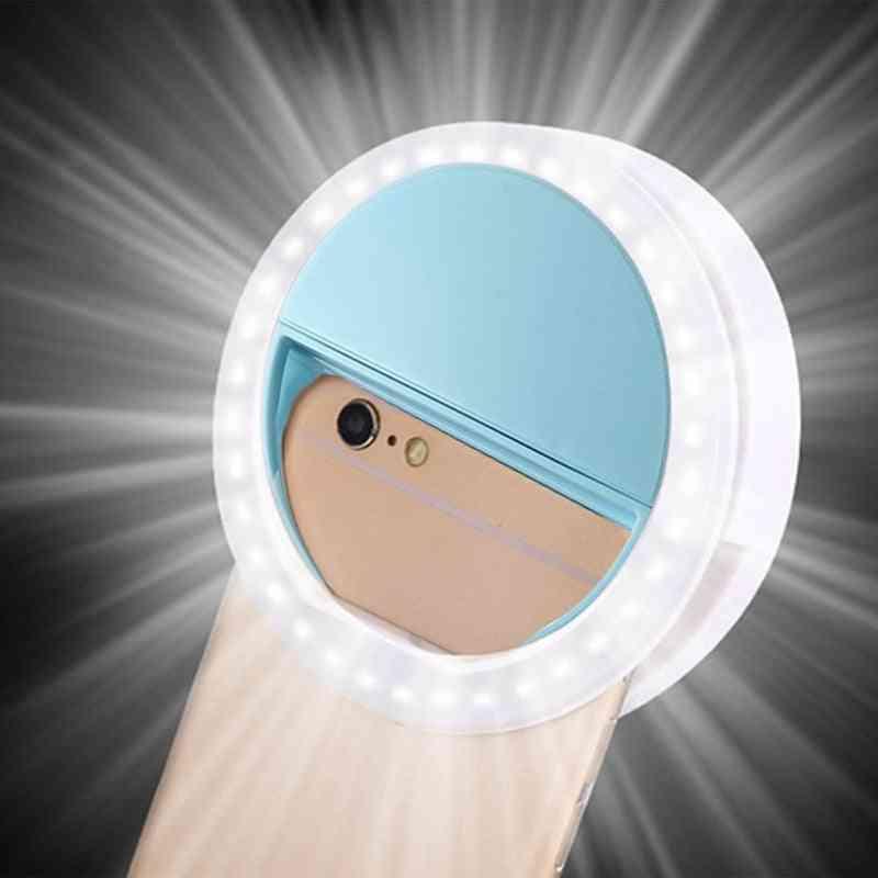 Rk12- Portable Mobile, Led Ring, Light Selfie Clip, Lens Lamp