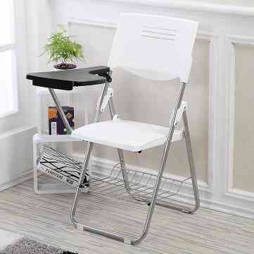 Folding Conference, Training Chair With Writing Board & Book Basket