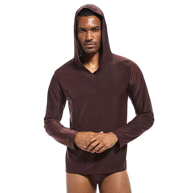 Men's Sleepwear Shirt, Silky Hooded Nightshirt