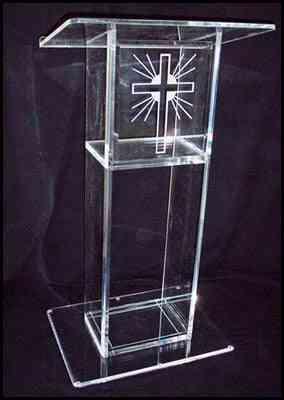Clear Acrylic- Pulpit Perspex Podium, Plexiglass Lectern Stand
