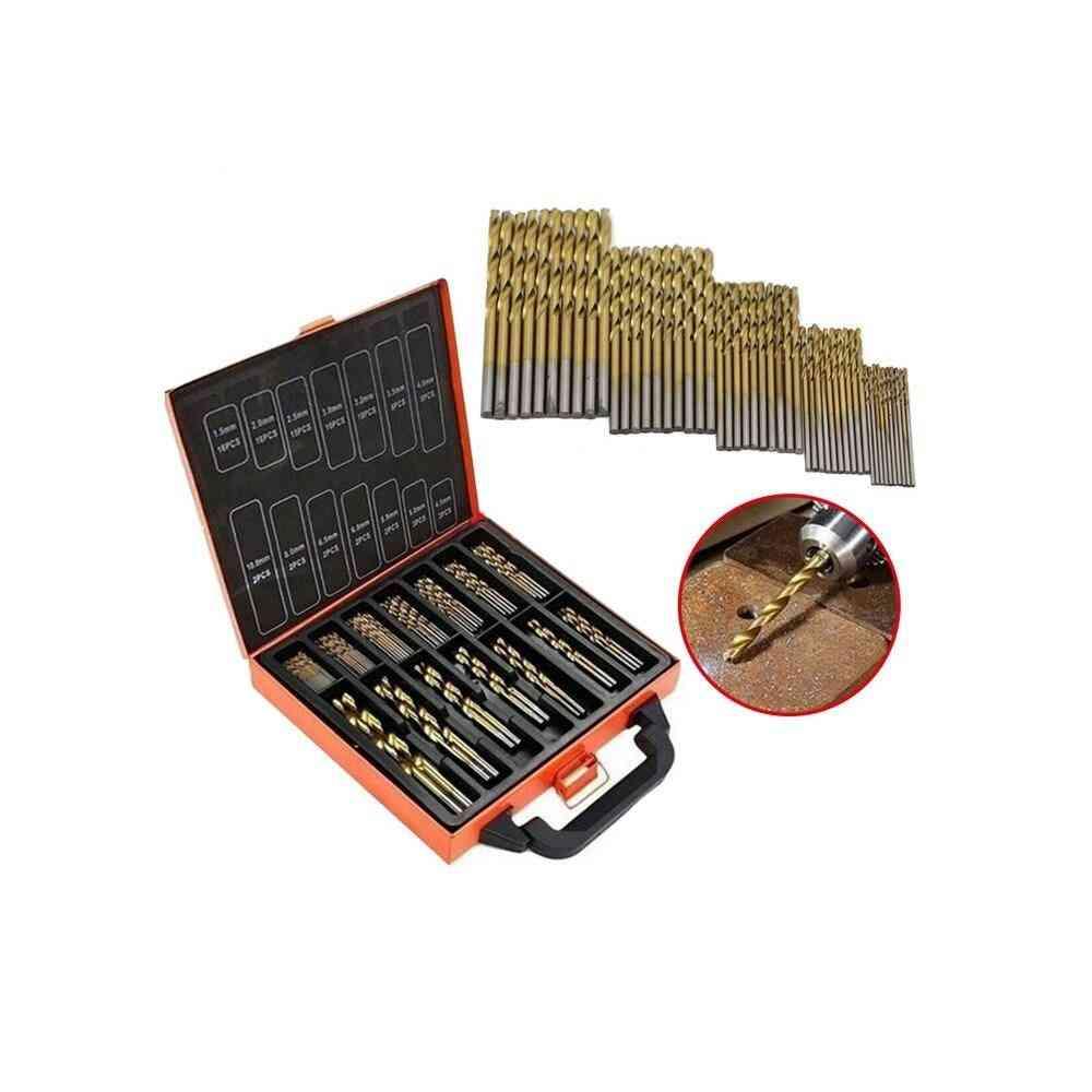 50pcs Hss Titanium Coated High Speed Steel Twist Drill Bit Set