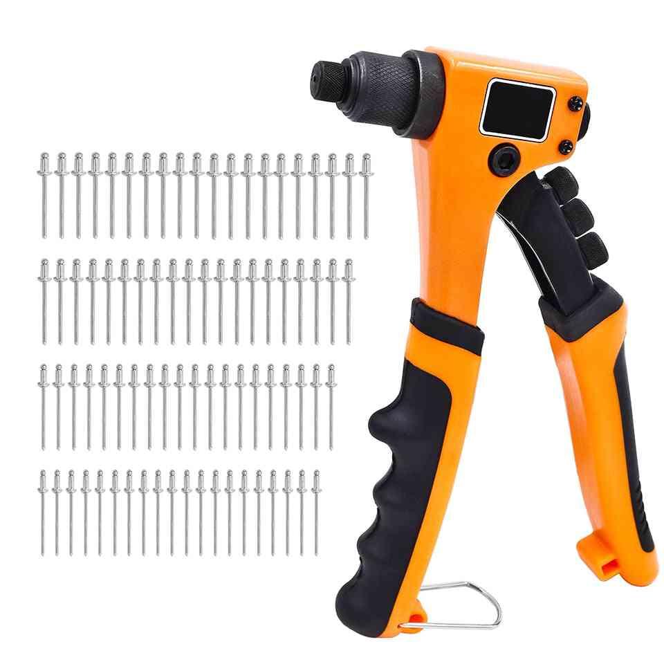 4 In 1 Pop Heavy Duty Manual Hand Rivet Nut Gun Tools Set