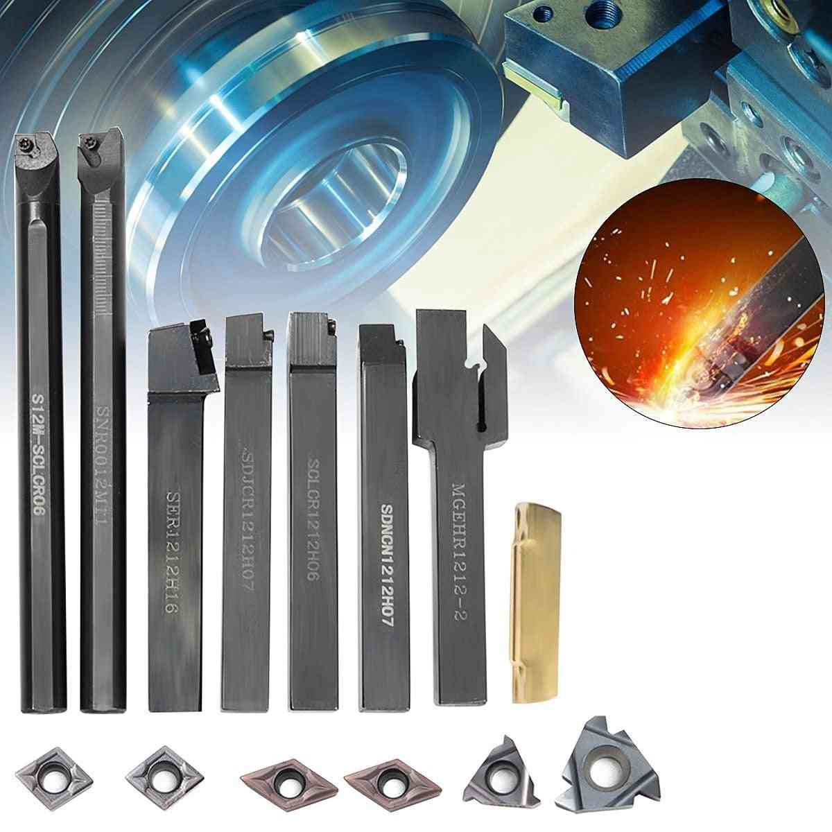 7pcs Carbide Insert, Lathe Turning Tool Holder Boring Bar, Wrench