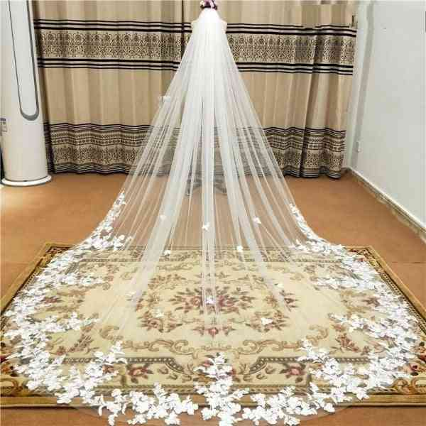 One Layer- Wedding Veil With Comb Lace, Edge Bridal Veils
