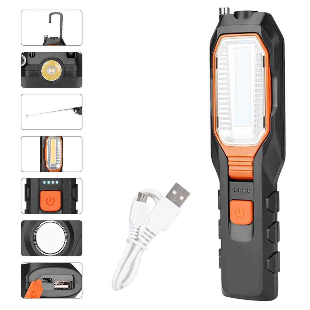 Led Work Light, Adjustable, Inspection Lamp, Magnetic Hand Torch, Usb Rechargeable, Camping Lantern With Hook