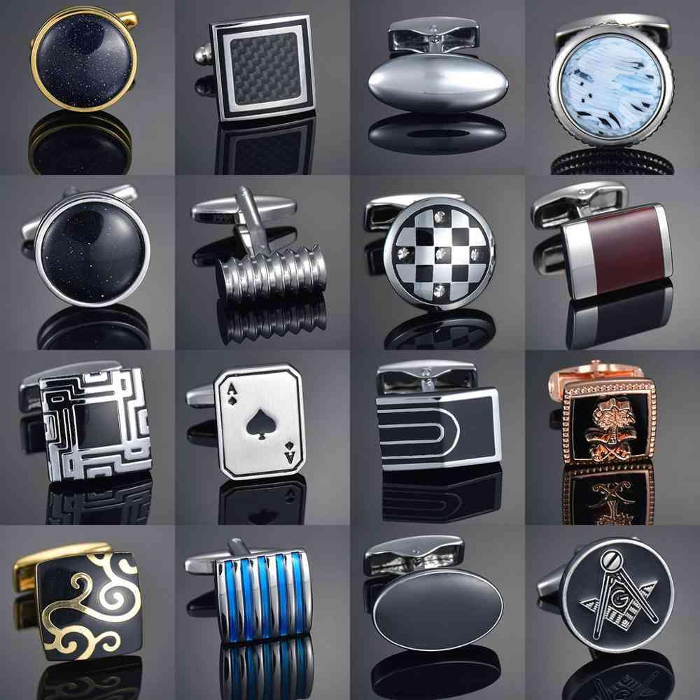 Quality Gems Craft Cufflinks Button, Pattern Fabric Oval Shirt Cuff Links