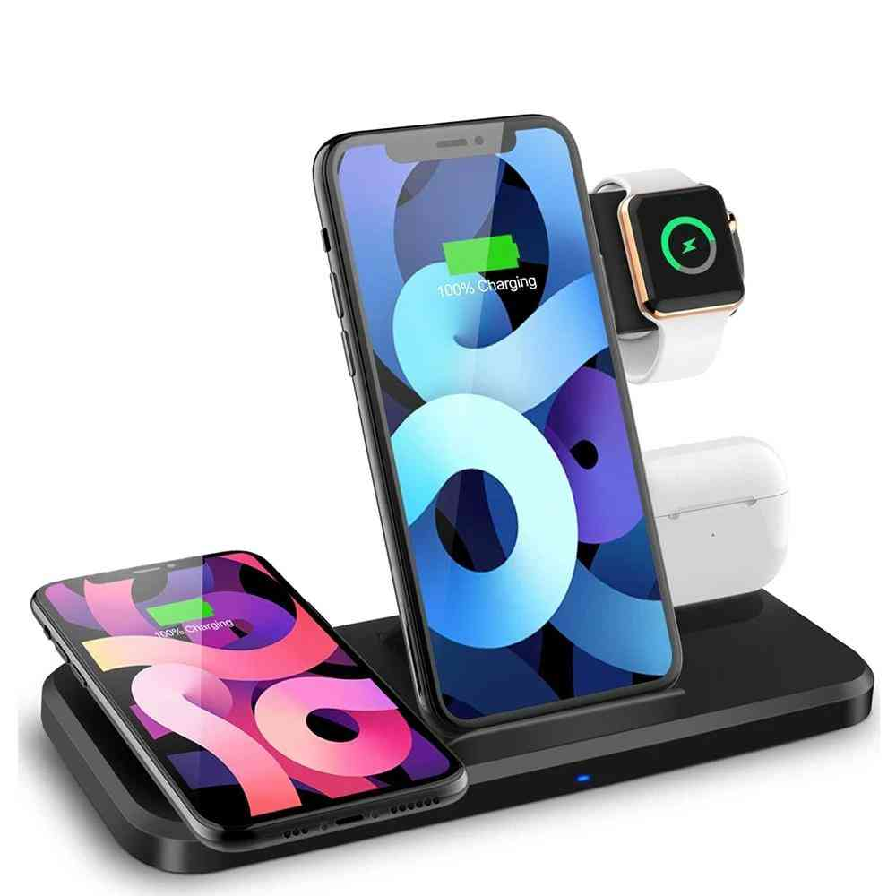 4-in-1 Foldable Charging, Dock Station, Qi Wireless, Charger Stand