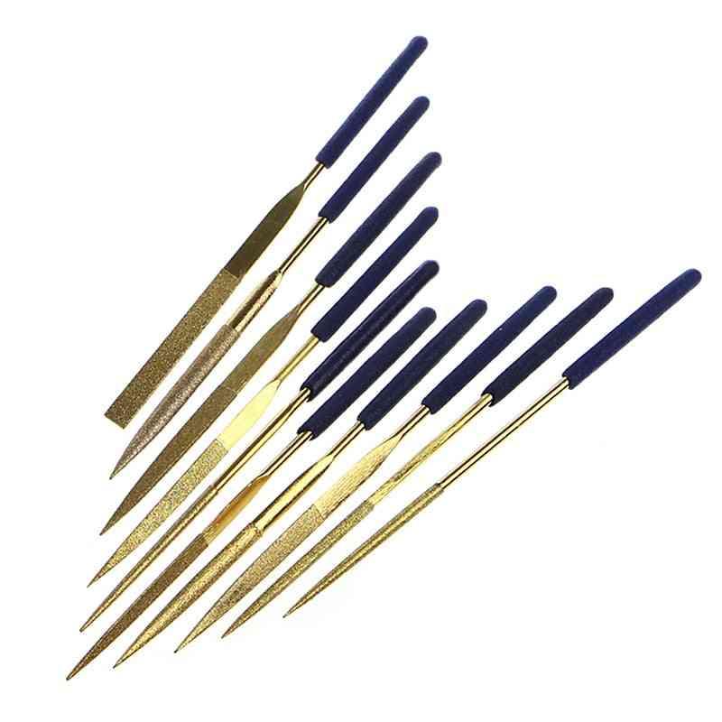 Mini Titanium Diamond Coating Needle Flat File Set