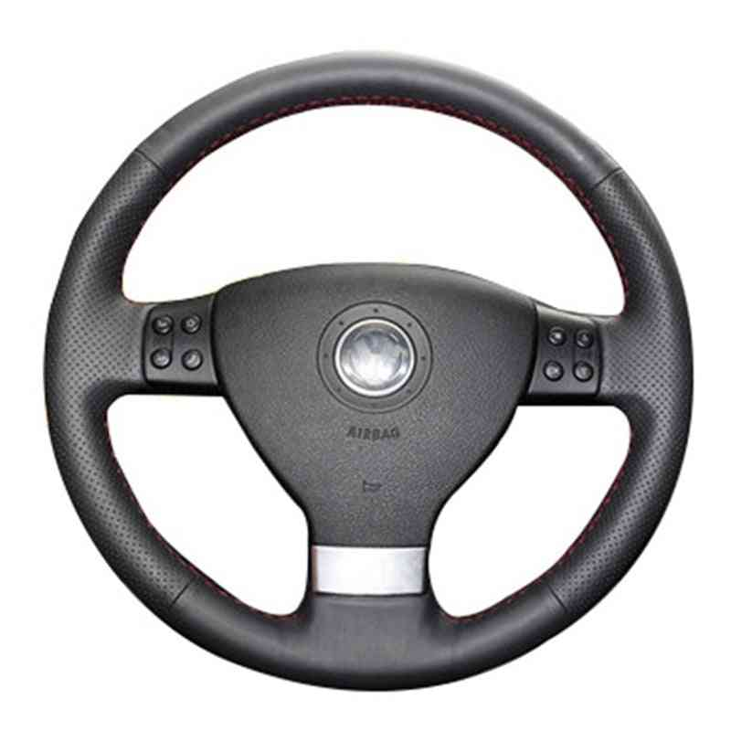 Leather Hand-stitched Car Steering Wheel Cover