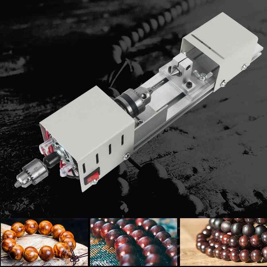Mini Wood Lathe Machine Diy Woodworking Miniature Buddha Polishing Bead