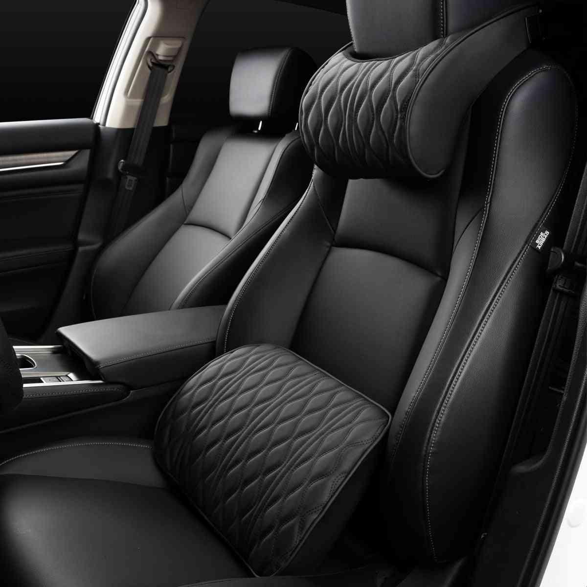 Adjustment Leather Seat, Back Cushion, Memory Foam, Headrest Neck Pillows