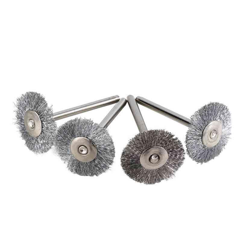 Steel Wire Wheel Brush Set- Metal Polishing, Shank Rotary Brush For Dremel Rotary Tool