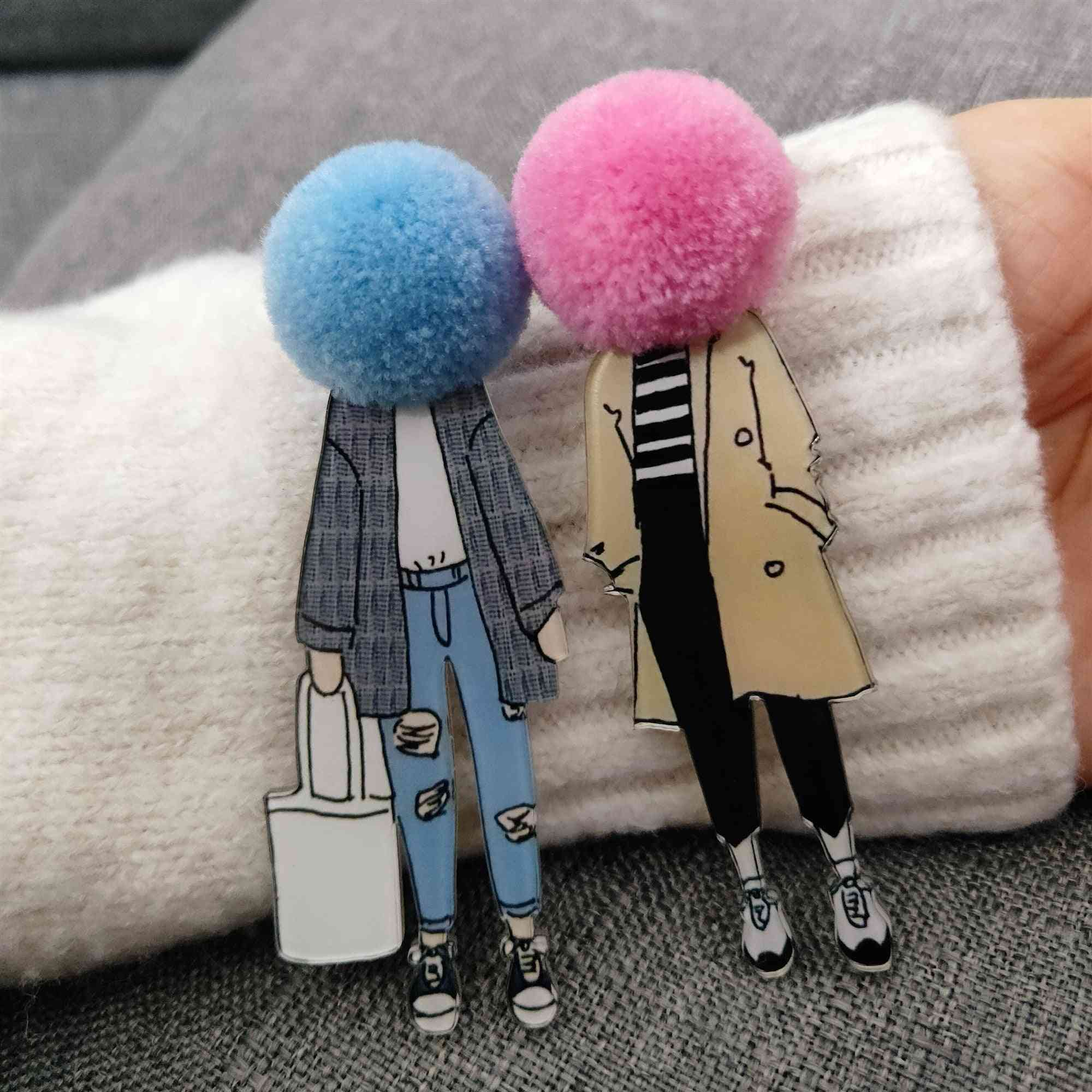 Cute Brooch, Lapel Shirt, Bags Acrylic Wool, Ball Badges Pins For Girl