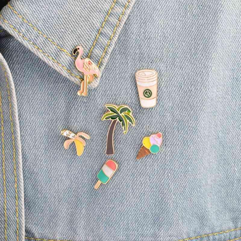 Rainbow Lips, Juice Flamingos, Sunglass Hat Guitar, Brooch Denim Jacket Pin