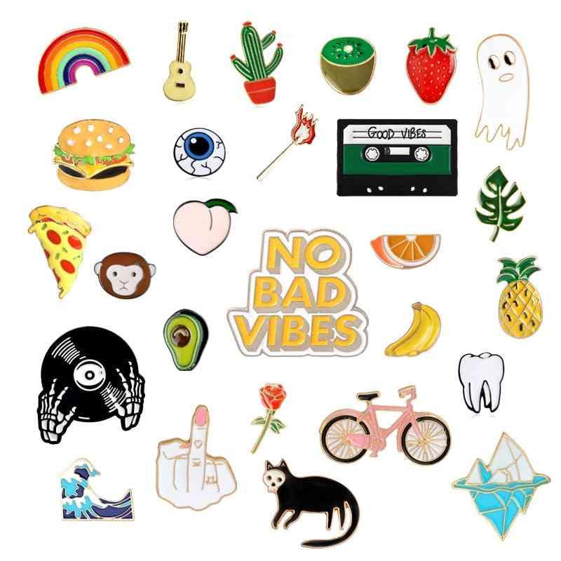 Rainbow Enamel Lapel, Cartoon Fruits, Food Mix Brooches, Badges Pins