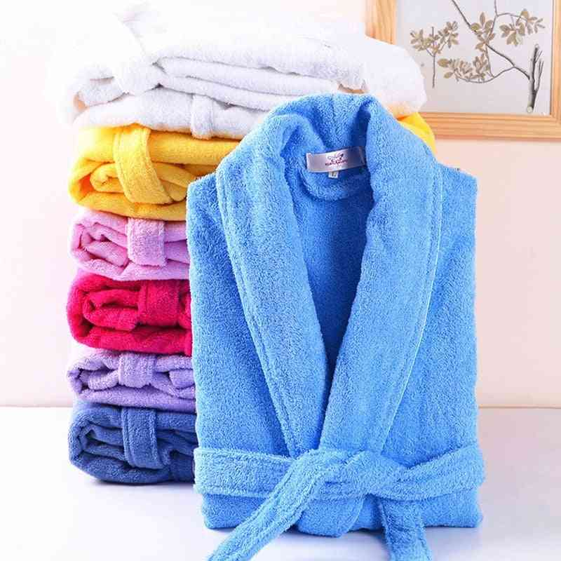 Cotton Terry Bathrobe, Lovers Solid Towel Sleepwear Long Bath Robe Femme Dressing Gown