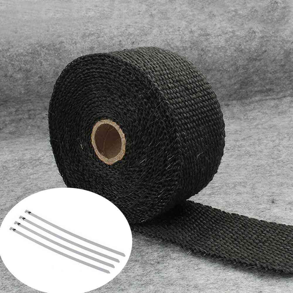Roll Fiberglass Heat-shield Motorcycle Exhaust Header Pipe Heat Wrap Tape Thermal Protection