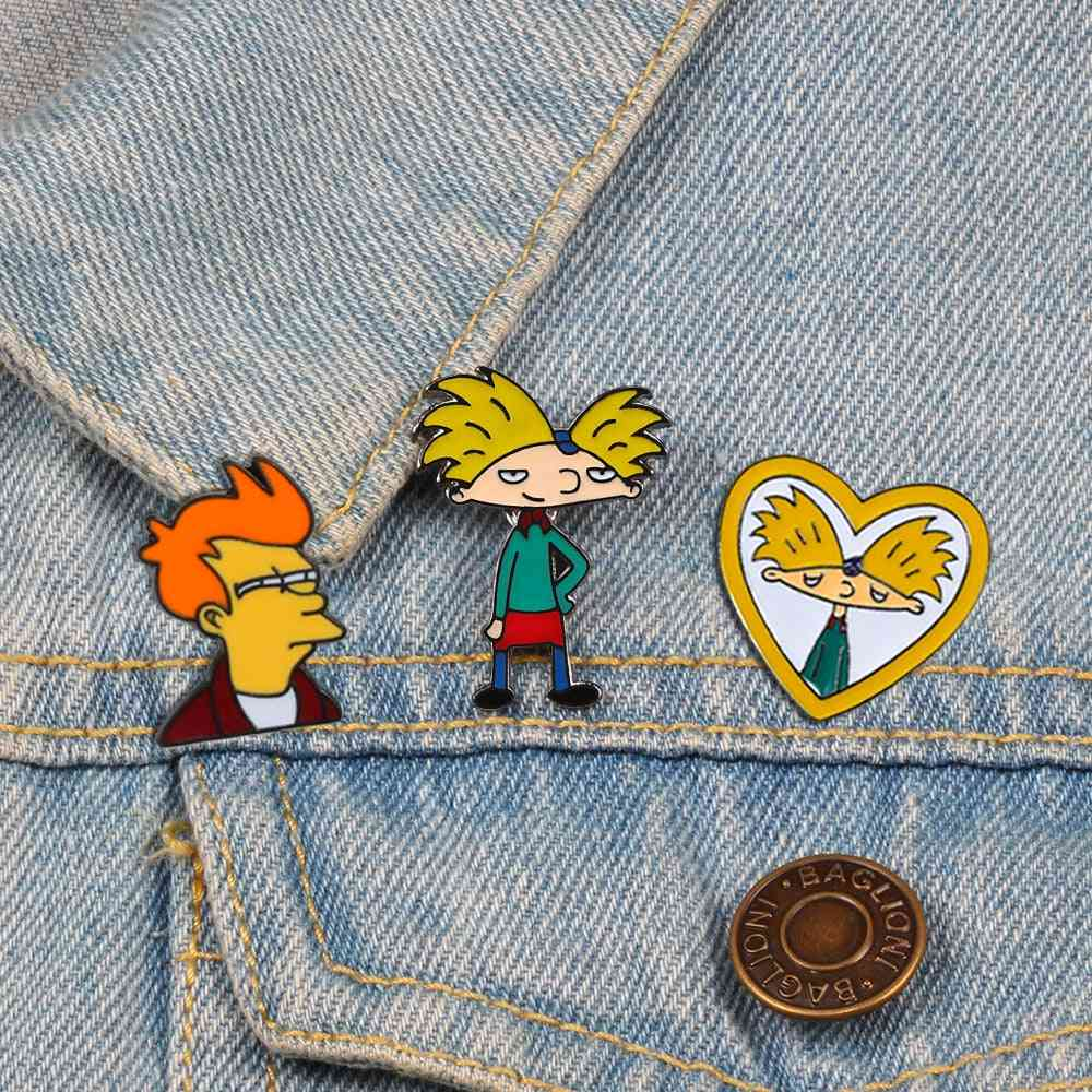Cartoon Arnold Pins, Boy Enamel Pin Collection, Brooch, Backpack Lapel Badge Jewelry