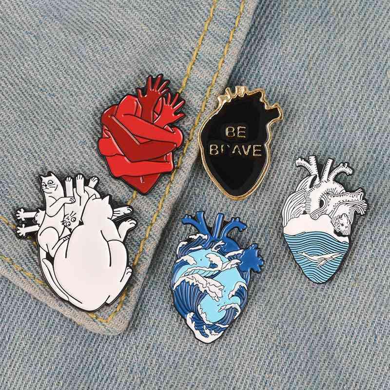 Organ Heart Collection Enamel-pin Van Gogh Starry Night Wave Universe Broken Hug Rose Brooch Bag Lapel Pin Badge Jewelry