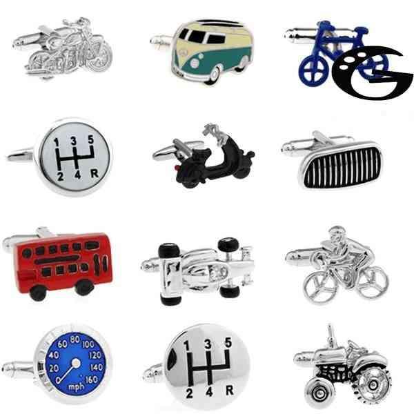 Vintage Bus Cufflinks Novelty Traffic Car Design Brass Material