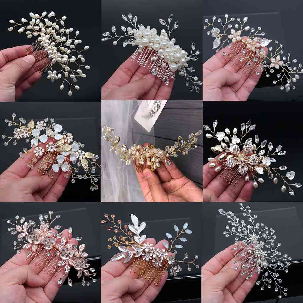 Crystal Peals Hair Combs, Wedding Clips Accessories, Jewelry