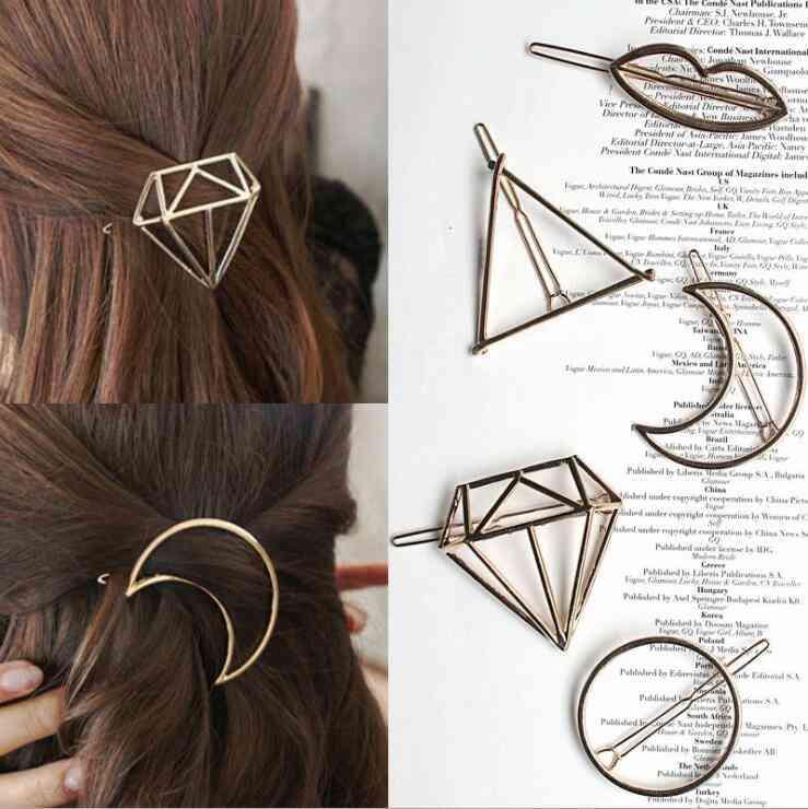 Barrettes Hairpin, Claws Women, Trend, Charm Moon Metal Leaf Hair Clip