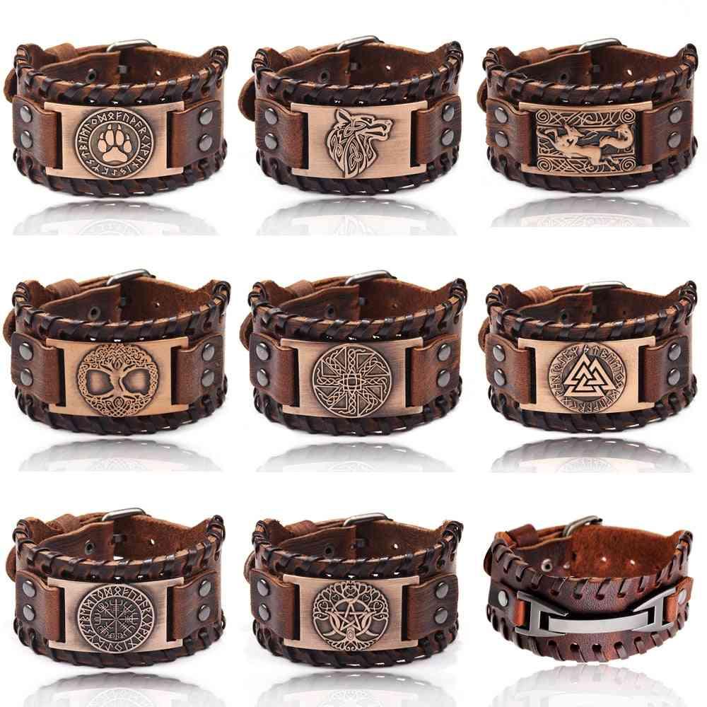 Charm Wide Leather Bracelet