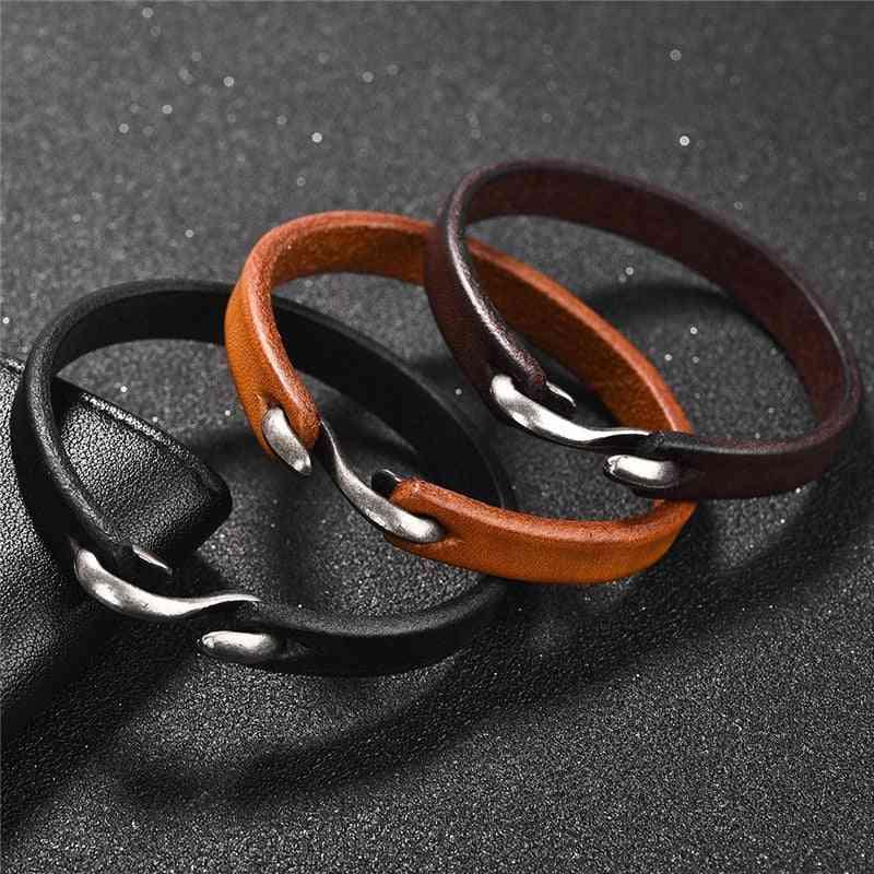 Men Bracelet Vintage, Genuine Leather Hook Bracelets, Wristband Bangles Jewelry