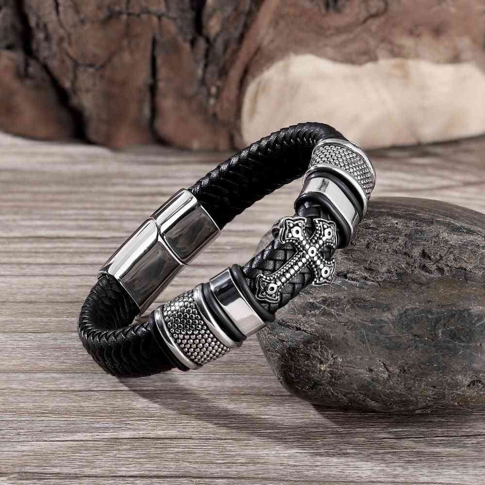 Multi-layer Stainless Steel, Leather Chain Weaved, Magnet Clasp, Wristband Bracelets