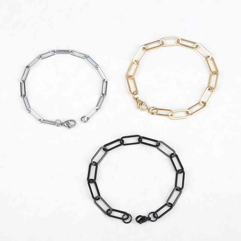 Stainless Steel Link Cable Chain Bracelets, Oval Jewelry, Men