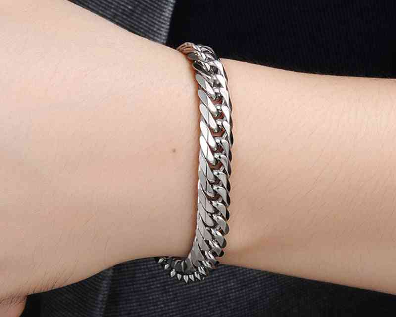 Cuban Stainless Steel Chain Bracelets, Men Flat Curb Bracelet