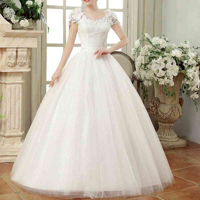 Vintage Lace Dresses, Cap Sleeves Long Train Ball Gowns