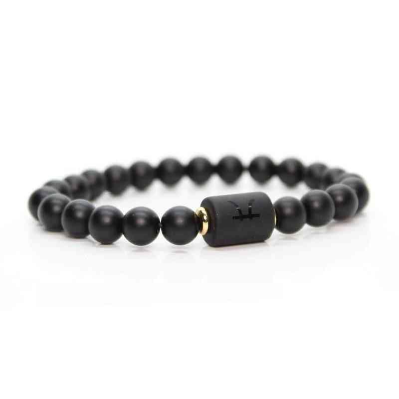 12-constellation, Black Stone Beads, Couple Bracelet
