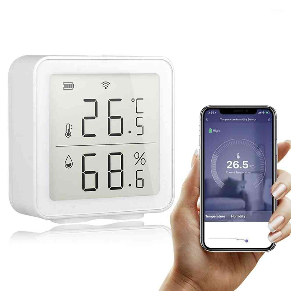 Wifi Temperature And Humidity Sensor For Indoor Hygrometer, Thermometer With Lcd Display