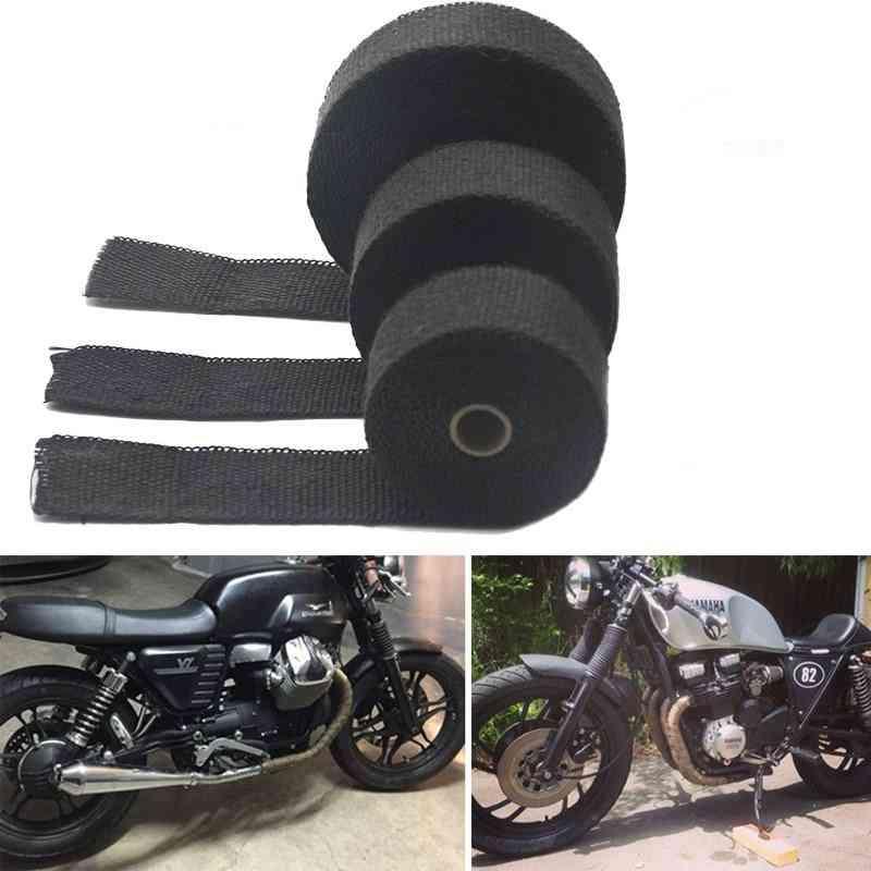 Motorcycle- Thermal Exhaust, Pipe Header, Heat Resistant, Wrap Tape With Steel Ties