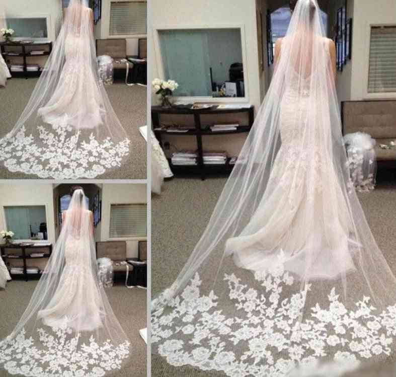 One Layer Lace Edge Cathedral Wedding Long Bridal Veil