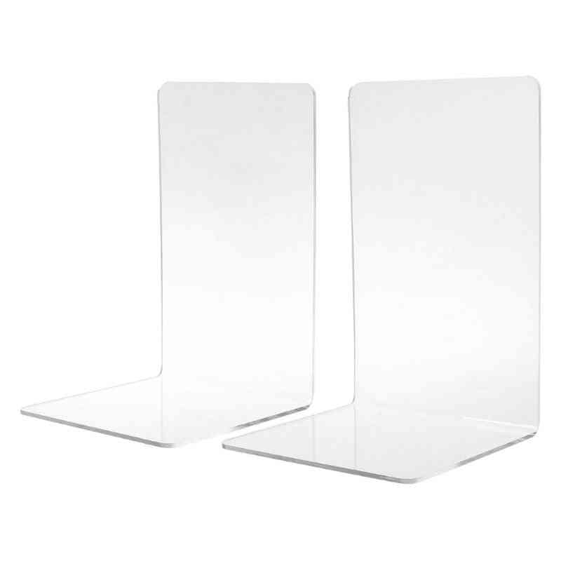 Clear Acrylic Bookends L Shaped Desk Organizer Desktop Book Holder School Stationery Office Supplies
