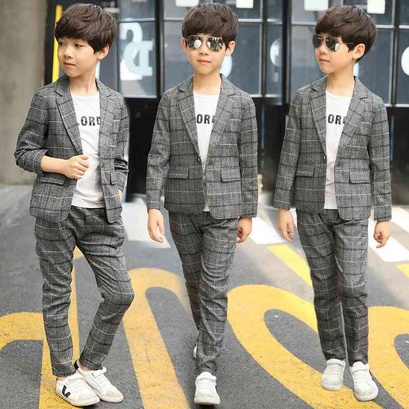 Autumn- Plaid Single Breasted, Blazers Suit For Boy
