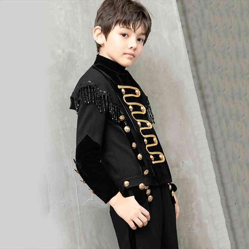Black Beaded, Tassel Terno Costume For