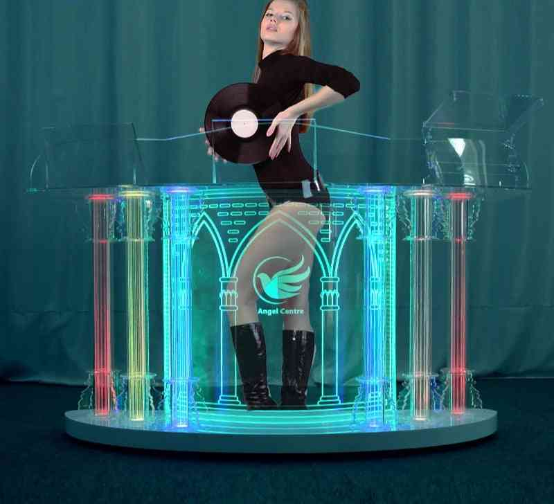 Acrylic Dj Led Colorful, Movable Booth Lights, Stand Desk, Bass Speaker Table (180x60x90)