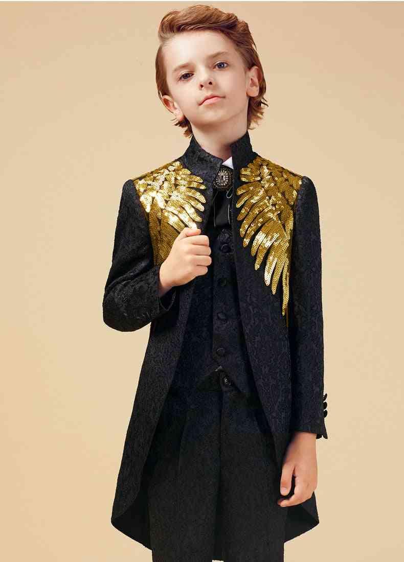 Gold Sequins Suit For Boy, Weddings Costume, Enfant Garcon Mariage Blazer