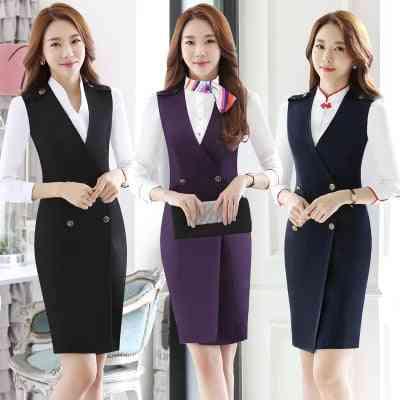 Stewardess Uniforms, Vest Dresses Aerospace Beautician Overalls Clothing