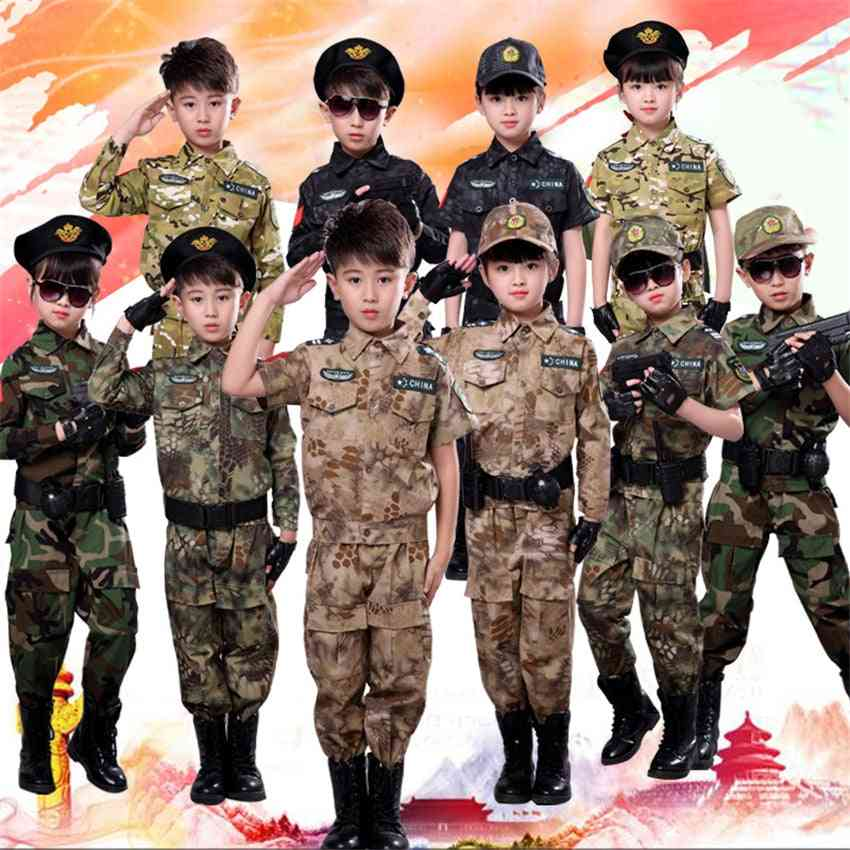 Children Military Combat Tactical Costumes, Short Long Army Suit