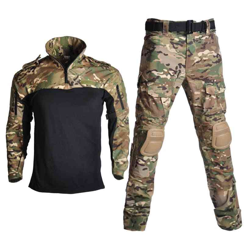 Children Military Combat Tactical Costumes, Camouflage Short Long Army Suit