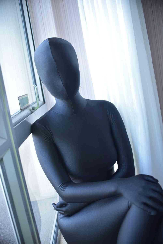 Black Long Sleeve, One-piece Spandex, Full Jumpsuit, Dance Bodysuit
