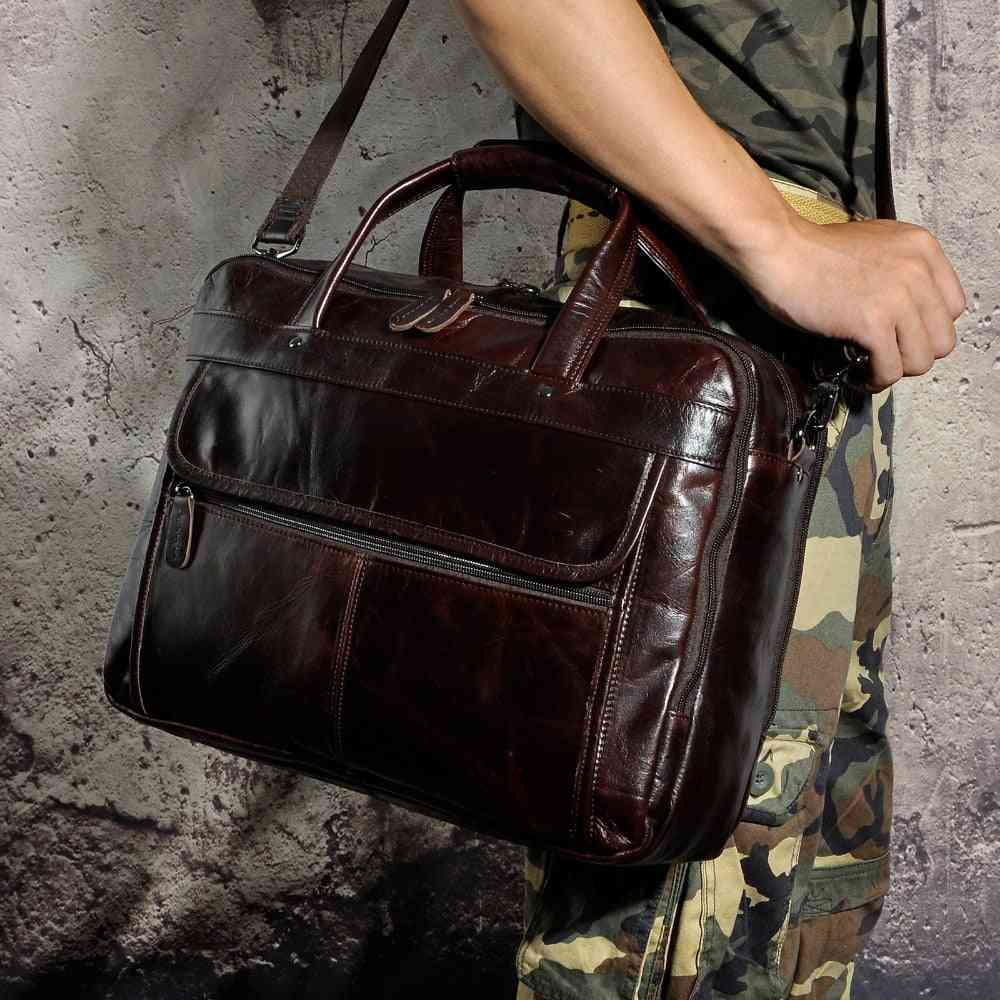 Men Fashion Oil Waxy Leather Briefcase Bag For Laptop Document